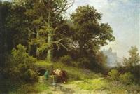 mann mit einem pferde an der tränke, am waldrand by gustav pflugradt