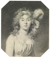portrait of a young woman, with a ribbon and an ostrich feather in her hair by jacques antoine marie lemoine