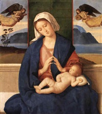 madonna and child with music-making angels above by vincenzo catena