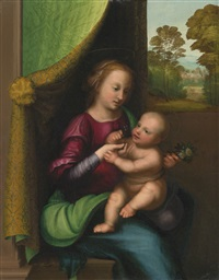 madonna and child beside a window, a landscape beyond by mariotto albertinelli