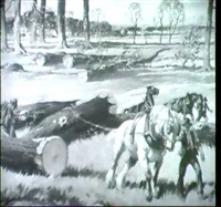 horses pulling logs by ernest herbert whydale