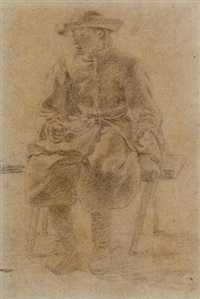 un jeune homme assis sur un banc by moses ter borch