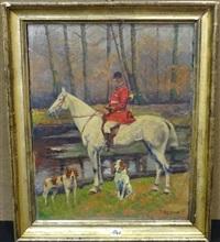 portrait d'un veneur à cheval avec ses chiens by pierre petit-gérard
