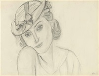 femme au chapeau avec noeud by henri matisse