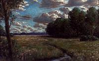 bachlandschaft mit wolkenstimmung by alfred köck