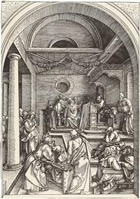der zwölfjährige jesus im tempel, pl. 16 (from marienleben) by albrecht dürer