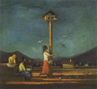 galambokat etetö leány (girl feeding pigeons) by hugo mund