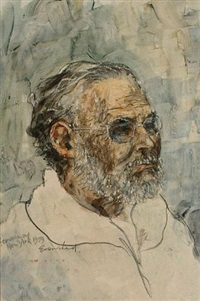 portrait of ernest hemmingway by peter evershed