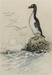 there he saw the last of the gairfowl, standing up on the allalonestone, all alone by warwick goble