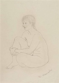 frauenakte (+ 9 others, various sizes; 10 works) by walter honeder
