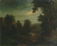 a moonlit wooded river landscape by karl gottfried traugott faber