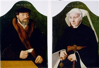 portrait of a gentleman in a black coat with a fur collar and a black hat, a letter in his right hand by bartholomäus (barthel) bruyn the younger