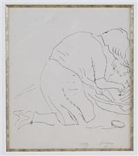 lucie krohg donnant le bain à son fils guy. by jules pascin