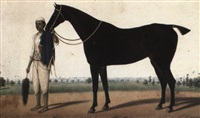 gunlare: black racehorse with a groom by muhammad amir