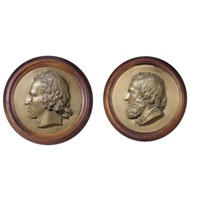 portrait reliefs of alfred, lord tennyson (+ robert browning; 2 works) by thomas woolner
