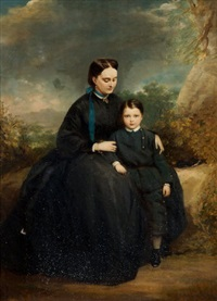 portrait of a lady with her son, in a landscape by stephen catterson smith