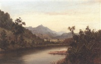 evening on the waihou river, new zealand by albert edward aldis