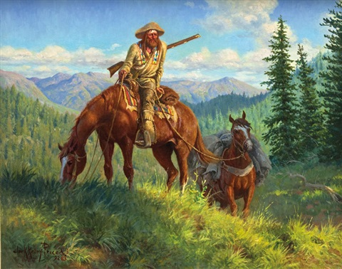 Mountain man and pack horse by Clark Kelley Price on artnet