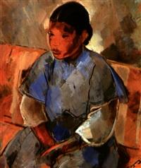 jeune marocaine à la robe bleue by alfred figueras