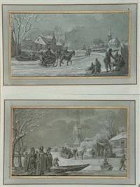 scènes hivernales (pair) by jean baptiste joseph wicar