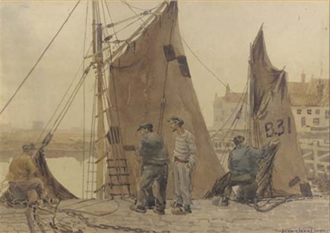 fishermen tending their nets in the harbour by vernon ward