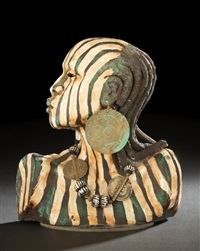 bust of an african female by woodrow nash