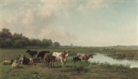 watering cattle in a panoramic summer landscape by jan bedijs tom