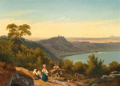 udsigt over albanersöen til castel gandolfo og den romerske campagne view over lake albano to castel gandolfo and the roman campagna by peter johann p raadsig
