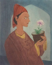 untitled (man with flower pot) by abdur rahman chughtai