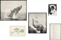 mazel tov group (untitled (whale); new yorker carton drawing #27; circus #3; emmett kelly; dylan lyrics #2) (in 5 parts) by karl haendel
