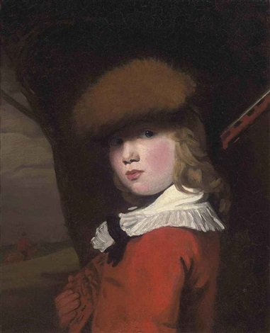 portrait of a boy in a red coat with a white collar and a fur hat, holding a gun, in a landscape by john opie