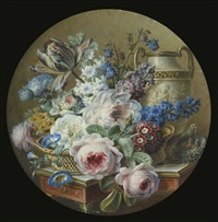 miniature still life with flowers in a stone vase on a carved pedestal, with a basket of flowers and a nest by gérard van spaendonck