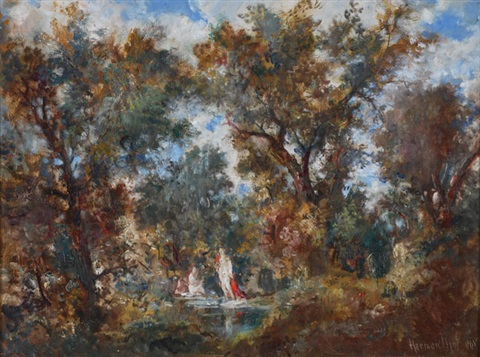 bathers in the forest by lipót herman