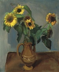 a still life with sunflowers by harrie kuyten