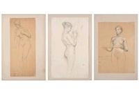 estudios de desnudo femenino (3 works) by luc olivier merson