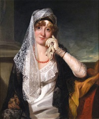 portrait of a lady wearing a lace veil and gloves, seated half length by ramsay richard reinagle