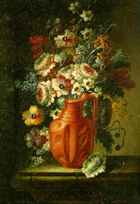 a still life of narcissi, poppies and others flowers in an earthenware vase on a stone ledge by francesco della questa