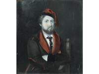 henri charles ferdinand marie dieudonné d'artois, duc de bordeaux, and comte de chambord (1820-1883), seated and wearing brown smoking jacket with red lapels and black velvet arm pads by michaelo albanesi