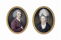 a pair of miniatures: a gentleman, in purple coat and waistcoat and white shirt and cravat, powdered wig, his right hand inside his waistcoat by samuel cotes