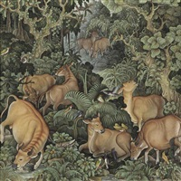 cows and birds in a forest by i nyoman lesug