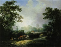 plough team in a wooded clearing, a village church beyond by george arnald