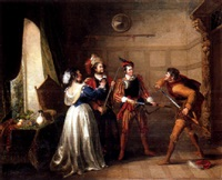 king henry the fifth, act 2 - mrs. quickly, pistol, nym and bardolph by john cawse