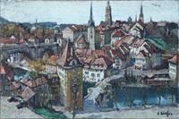 vue en perspective d'une ville fortifiée by constantine kluge