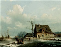 a horse drawn sledge on a frozen waterway by louis smets