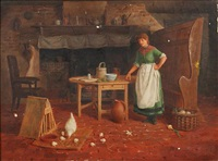 country cottage interior scene by henry edward spernon tozer