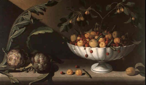still life of fruit in a bowl with two artichokes by juan fray sanchez y cotan