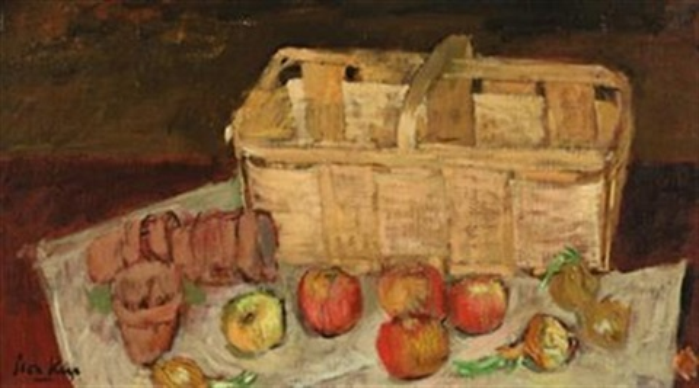 still life of basket of apples by leon karp