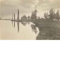 cantley: wherries waiting for the turn of the tide 1888 by peter henry emerson