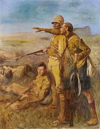 a scots fusilier and other soldiers during a boer war action (spionkop) by john henry frederick bacon