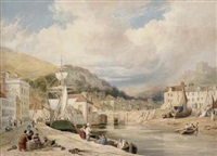 view of dover harbour looking towards the castle by william henry stothard scott